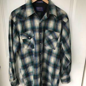 Pendleton wool blue white plaid western wear shirt